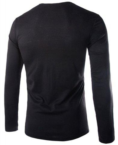 Cheap Modish Slimming Cowl Neck Solid Color Button Design Long Sleeve Polyester T-Shirt For Men - 2XL BLACK Mobile