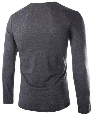 Cheap Modish Slimming Cowl Neck Solid Color Button Design Long Sleeve Polyester T-Shirt For Men - 2XL DEEP GRAY Mobile