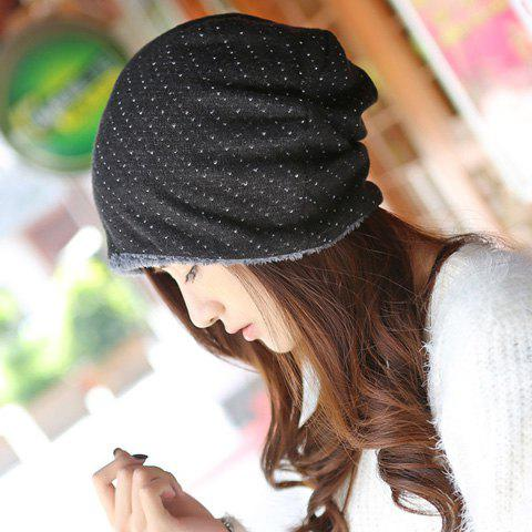 Chic Small Hole Double-Deck Thicken Knitted Beanie For Women - BLACK