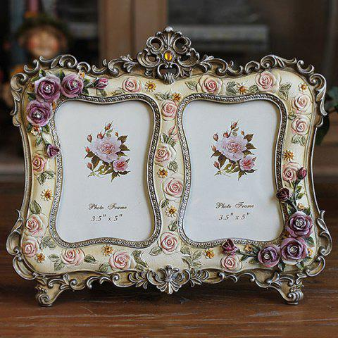 Fancy Modern Style Colored Two-Hole Artificial Rose Embellished Polyresin Picture Frame
