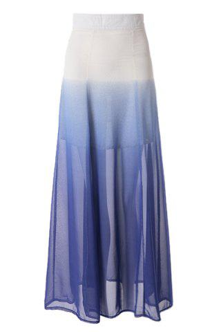 Latest Ombre Color Flowy Chiffon Skirt AS THE PICTURE M