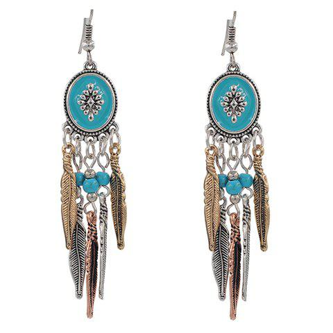 Hot Faux Turquoise Beads Feather Tassel Earrings