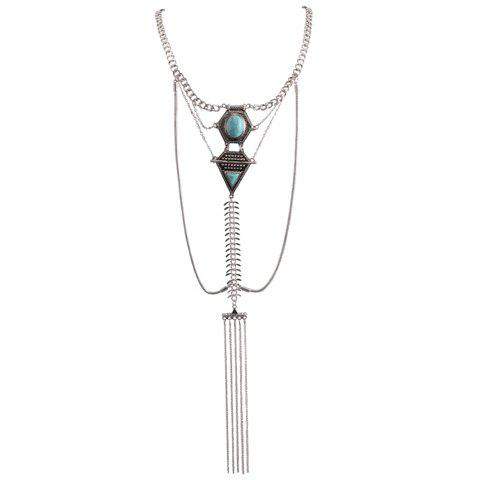 Online Retro Faux Turquoise Inlaid Geometric Shape Long Tassel Necklace SILVER