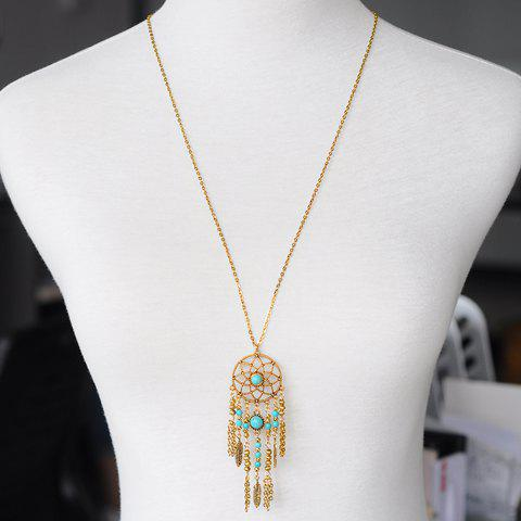 Shops Hollow Out Tassel Pendant Sweater Chain GOLDEN