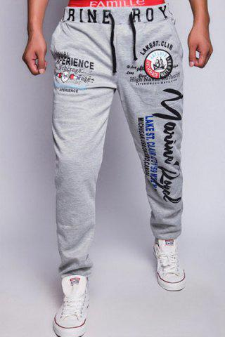 Shop Loose Fit Fashion Drawstring Multicolor Letters Print Beam Feet Men's Polyester Jogger Pants LIGHT GRAY L