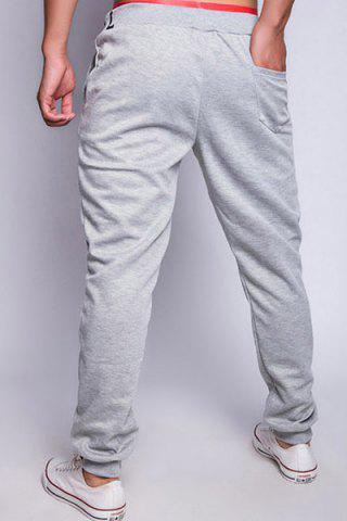 Online Loose Fit Fashion Drawstring Multicolor Letters Print Beam Feet Men's Polyester Jogger Pants - 2XL LIGHT GRAY Mobile