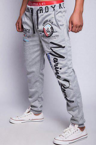 Outfit Loose Fit Fashion Drawstring Multicolor Letters Print Beam Feet Men's Polyester Jogger Pants - 2XL LIGHT GRAY Mobile
