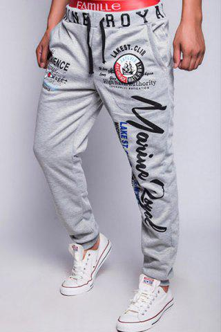 Cheap Loose Fit Fashion Drawstring Multicolor Letters Print Beam Feet Men's Polyester Jogger Pants - 2XL LIGHT GRAY Mobile