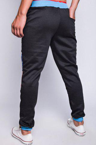 Outfit Loose Fit Trendy Lace-Up Flag and Badge Print Beam Feet Men's Polyester Sweatpants - XL BLACK Mobile