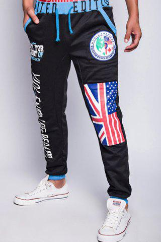 Shops Loose Fit Trendy Lace-Up Flag and Badge Print Beam Feet Men's Polyester Sweatpants - XL BLACK Mobile