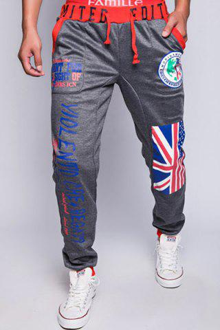Fancy Loose Fit Trendy Lace-Up Flag and Badge Print Beam Feet Men's Polyester Sweatpants DEEP GRAY XL