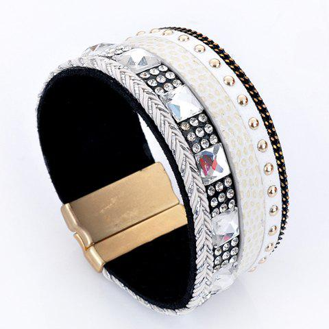 Sale Rhinestone Decorated Faux Leather Bracelet WHITE
