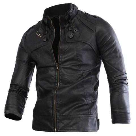Discount Slimming Rib Spliced Button and Epaulet Design Stand Collar Long Sleeves Men's Locomotive PU Leather Jacket - 2XL BLACK Mobile