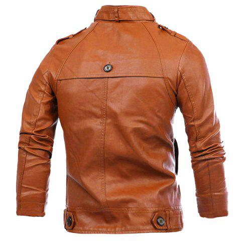 Sale Slimming Rib Spliced Button and Epaulet Design Stand Collar Long Sleeves Men's Locomotive PU Leather Jacket - L BROWN Mobile