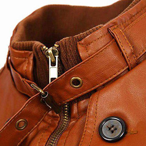 Online Slimming Rib Spliced Button and Epaulet Design Stand Collar Long Sleeves Men's Locomotive PU Leather Jacket - L BROWN Mobile