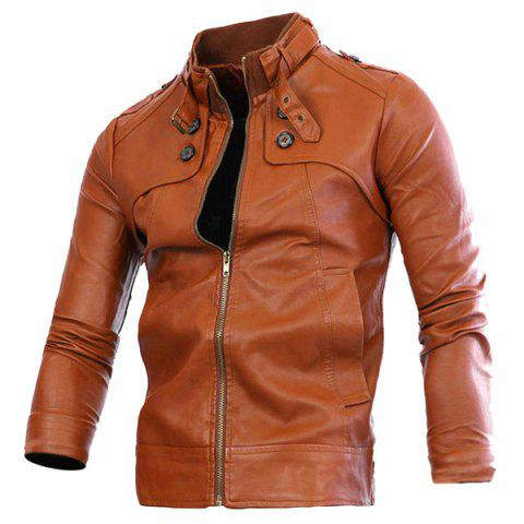 Cheap Slimming Rib Spliced Button and Epaulet Design Stand Collar Long Sleeves Men's Locomotive PU Leather Jacket - L BROWN Mobile