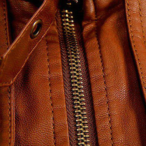 Latest Slimming Rib Spliced Button and Epaulet Design Stand Collar Long Sleeves Men's Locomotive PU Leather Jacket - L BROWN Mobile