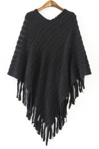 Shops Chic V Neck 3/4 Sleeve Loose-Fitting Fringed Women's Sweater