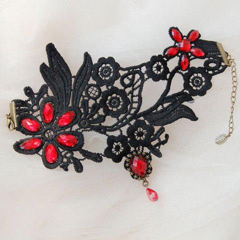 Outfit Lace Flower Faux Crystal Flower Anklet - BLACK  Mobile