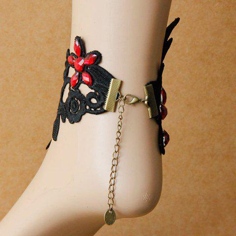 Cheap Lace Flower Faux Crystal Flower Anklet - BLACK  Mobile