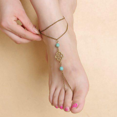 Cheap Vintage Fake Turquoise Double Layered Fancy Anklets