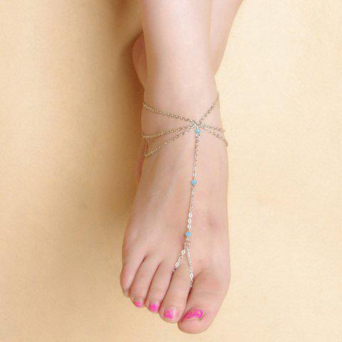 Chic Faux Crystal Beads Layered Tassel Anklet SILVER