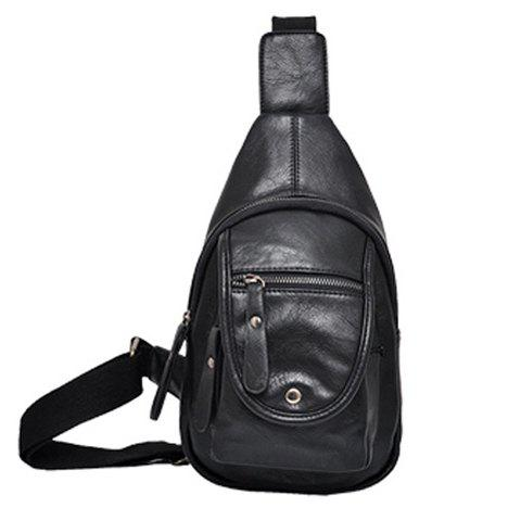 Online Trendy Solid Colour and Zipper Design Men's Messenger Bag BLACK