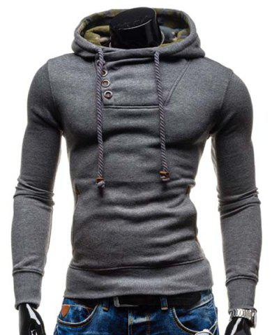 Outfits Trendy Hooded Oblique Button Patched Splicing Slimming Long Sleeve Cotton Blend Hoodie For Men