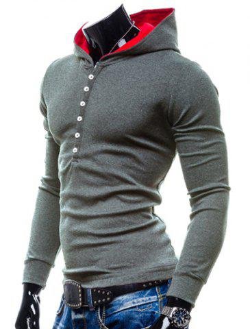 New Stylish Hooded Simple Solid Color Buttons Design Slimming Long Sleeve Polyester Hoodie For Men - M GRAY Mobile