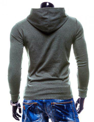 Store Stylish Hooded Simple Solid Color Buttons Design Slimming Long Sleeve Polyester Hoodie For Men - M GRAY Mobile