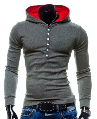Shop Stylish Hooded Simple Solid Color Buttons Design Slimming Long Sleeve Polyester Hoodie For Men GRAY 2XL