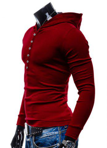 Discount Stylish Hooded Simple Solid Color Buttons Design Slimming Long Sleeve Polyester Hoodie For Men - L RED Mobile