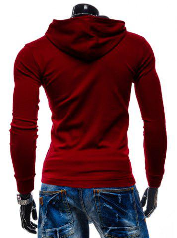 New Stylish Hooded Simple Solid Color Buttons Design Slimming Long Sleeve Polyester Hoodie For Men - XL RED Mobile