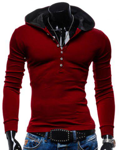 Affordable Stylish Hooded Simple Solid Color Buttons Design Slimming Long Sleeve Polyester Hoodie For Men RED 2XL