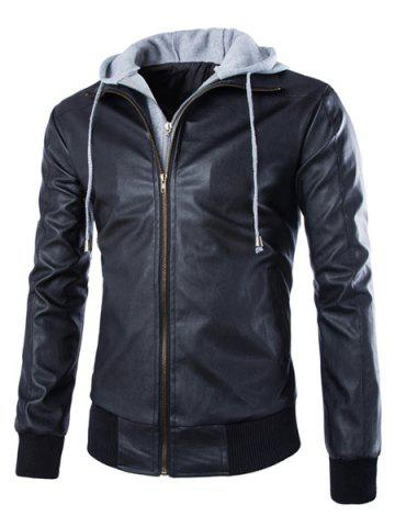 Shop Faux Twinset Color Block Rib Spliced Hooded Fashion Slimming Long Sleeves Men's PU Leather Coat