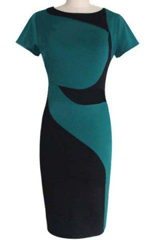Discount Sheath Color Block Pencil Work Dress