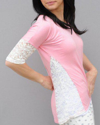 Stylish Scoop Neck Lace Spliced Half Sleeve T-Shirt For Women