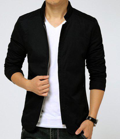 Slimming Stand Collar Zipper Pocket French Front Fabric Spliced Long Sleeves Men's Casual Jacket - Black - M