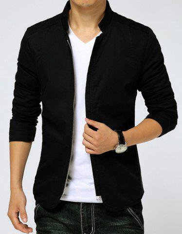 Store Slimming Stand Collar Zipper Pocket French Front Fabric Spliced Long Sleeves Men's Casual Jacket - M BLACK Mobile