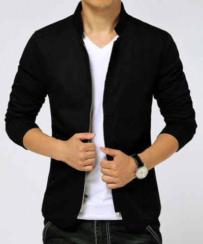 Fancy Slimming Stand Collar Zipper Pocket French Front Fabric Spliced Long Sleeves Men's Casual Jacket - M BLACK Mobile