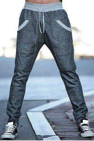 Shops Slimming Stylish Lace-Up Color Block Splicing Beam Feet Polyester Men's Sweatpants - M DEEP GRAY Mobile