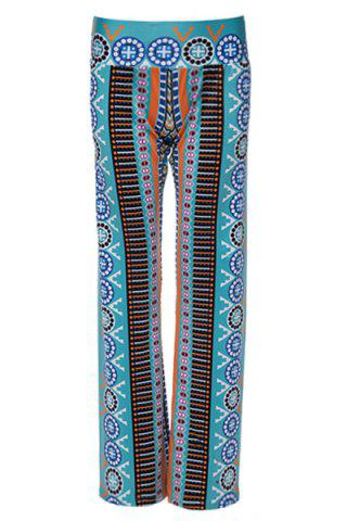 Latest Casual Ethnic Print Wide-Leg  Pants For Women WATER BLUE M