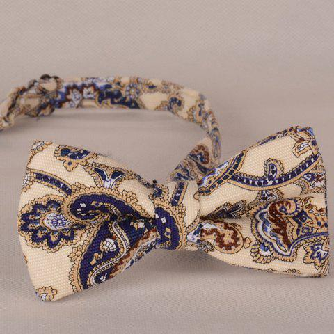 Cheap Stylish Fulled Ethnic Print Bow Tie For Men - BEIGE  Mobile