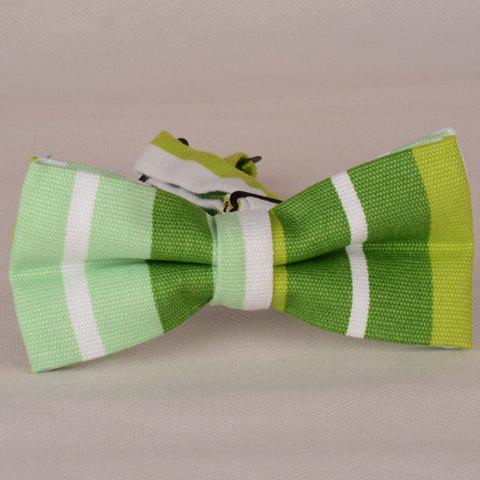 Best Stylish Slender and Wide Stripe Pattern Bow Tie For Men - GRASS GREEN  Mobile