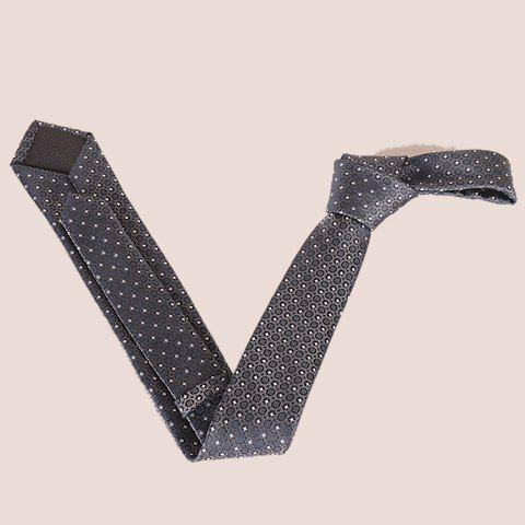 Latest Stylish Fulled Embroidery Jacquard Casual Tie For Men - SILVER GRAY  Mobile