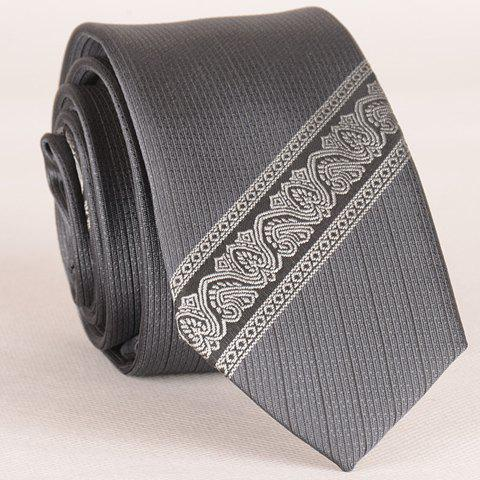 Sale Stylish Ethnic and Twill Jacquard Gray Tie For Men GRAY