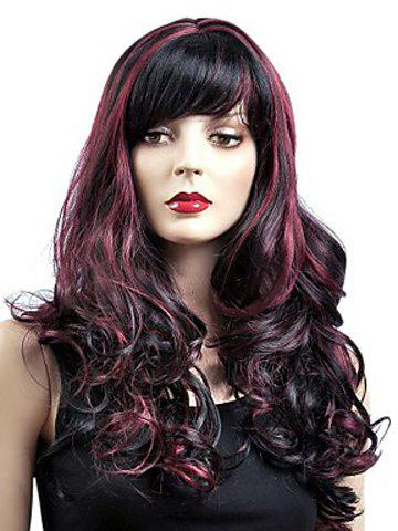 Shops Gorgeous Shaggy Capless Wine Red Highlight Synthetic Long Wavy Women's Wig With Inclined Bang