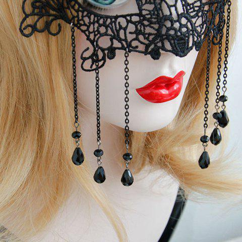 Discount Sexy Hollow Out Lace Waterdrop Tassels Mask For Women - BLACK  Mobile