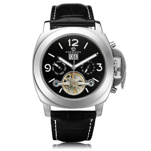 Cheap Forsining 005 Men Tourbillon Genuine Leather Band Automatic Mechanical Watch with Two Working Sub-dials