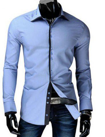 Trendy Slimming Shirt Collar Button Design Color Block Placket Long Sleeve Polyester Shirt For Men - Light Blue - 2xl